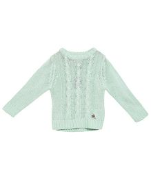 Cherry Crumble California Premium Cable Knit Sweater - Sea Green