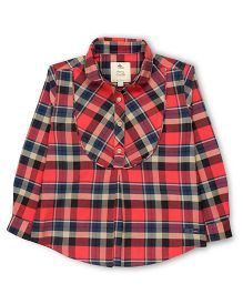 Cherry Crumble California Cotton Checkered Half Placket Shirt - Red & Navy Blue