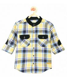 Cherry Crumble California Corduroy Trim Checkered Shirt - Multicolor