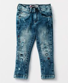 Vitamins Full Length Slim Fit Distressed Jeans - Blue