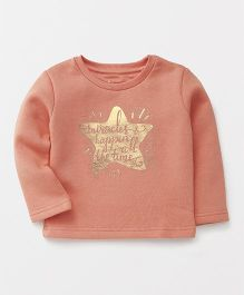 Vitamins Full Sleeves Text In Star Print Top - Peach