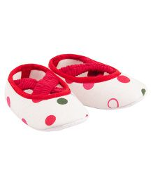 Daizy Criss Cross Strap Booties - Red & White