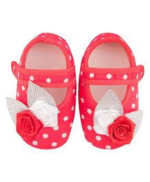 Daizy Polka Dot Open Booties - Red & White