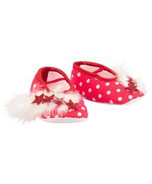 Daizy Polka Dot Stars And Feather Applique Booties - Red & White