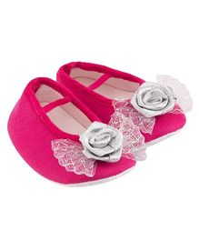 Daizy Bow Applique Dual Booties - Hot Pink