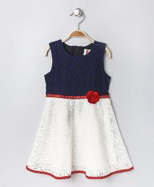 Babyhug Sleeveless Netted Frock Floral Applique - Navy White