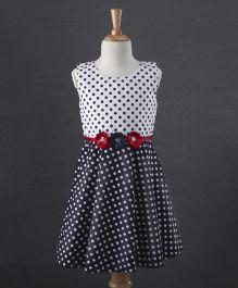 Babyhug Sleeveless Polka Dot Frock Floral Appliques - White Navy Blue