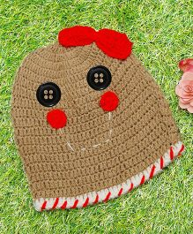 D'chica Pure Wool Smiley Face Cap - Brown