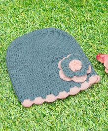 D'chica Pure Wool Flower Cap - Grey