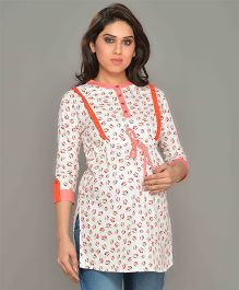 Mama & Bebe Three Fourth Sleeves Maternity Kurti - Orange