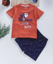 Babyhug Half Sleeves T-Shirt With Shorts Text Print - Coral Navy