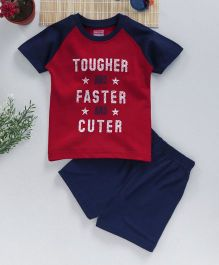 Babyhug Half Sleeves T-Shirt With Shorts Faster Print - Red Navy