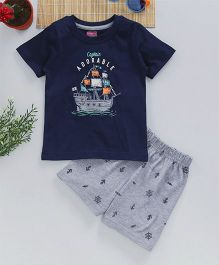 Babyhug Half Sleeves T-Shirt With Shorts Ship Print - Navy Blue