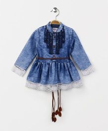 Button Noses Full Sleeves Denim Party Wear Frock With Belt - Blue