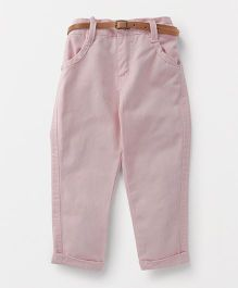 Button Noses Trouser With Belt - Light Pink