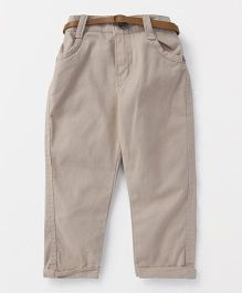 Button Noses Trouser With Belt - Beige