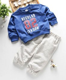 ToffyHouse Full Sleeves Winter Wear Set With Text Rubber Print - Royal Blue Light Grey