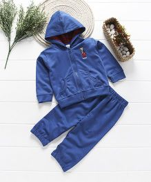 ToffyHouse Full Sleeves Hooded Winter Wear Set Bear Embroidery - Dark Blue