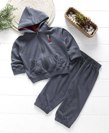 ToffyHouse Full Sleeves Hooded Winter Wear Set Bear Embroidery - Dark Grey