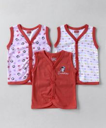 Babyhug Sleeveless Vest Pack of 3 Solid & Printed - Coral & White