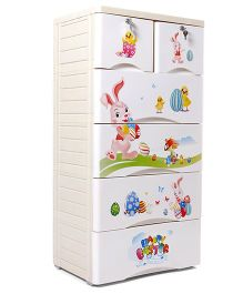 Six Drawer Storage Unit - Cream White