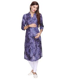 MomToBe Three Fourth Sleeves Floral Print Maternity Kurti - Navy Blue