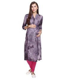 MomToBe Three Fourth Sleeves Floral Maternity Kurti - Grey