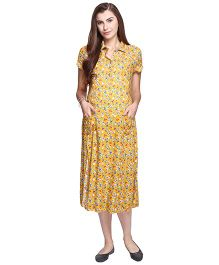 MomToBe Short Sleeves Maternity Nursing Dress Floral Print - Yellow