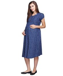 MomToBe Short Sleeves Denim Maternity Dress Anchor Print - Blue