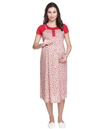 MomToBe Short Sleeves A Line Maternity Dress Floral Print - Red & Cream