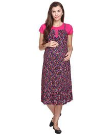 MomToBe Short Sleeves A Line Maternity Dress Floral Print - Pink & Navy