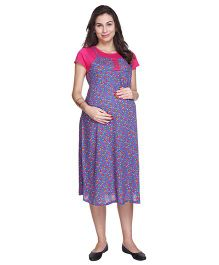 MomToBe Short Sleeves Rayon Maternity Dress - Blue & Pink