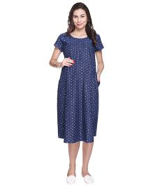 MomToBe Short Sleeves Denim Maternity Printed Dress - Blue