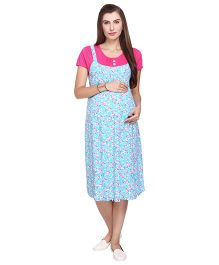 MomToBe Short Sleeves Rayon Maternity Dress - Sky Blue Pink