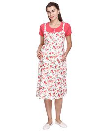MomToBe Short Sleeves Rayon Maternity Dress Rose Print - Cream & Peach