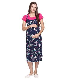MomToBe Short Sleeves Floral Print Maternity Dress - Pink & Navy