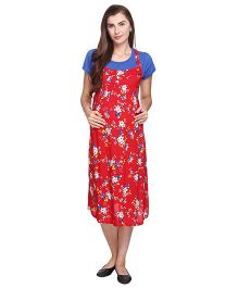 MomToBe Short Sleeves Floral Print Maternity Dress - Red & Blue