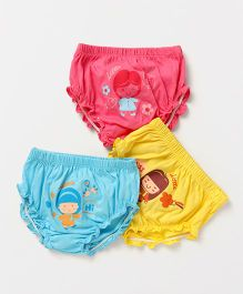 Simply Panties Girl Print Pack of 3 - Pink Yellow Blue