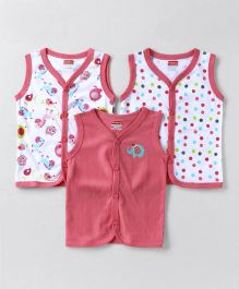 Babyhug Sleeveless Vest Pack of 3 Solid & Printed - Pink & White