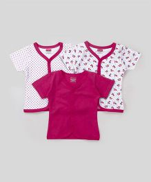 Babyhug Half Sleeves Vest Pack of 3 Solid & Printed - Magenta & White