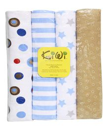 Kiwi Printed Cotton Receiving Blanket 001 Pack Of 4 - Multicolor