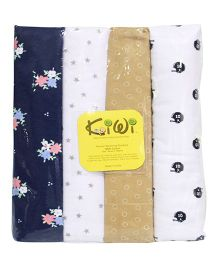 Kiwi Printed Cotton Receiving Blanket 002 Pack Of 4 - Multicolor