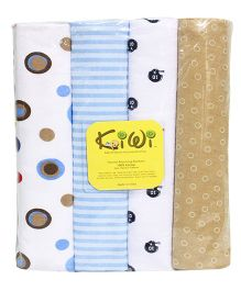 Kiwi Printed Cotton Receiving Blanket 004 Pack Of 4 - Multicolor