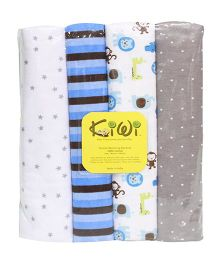 Kiwi Printed Cotton Receiving Blanket 007 Pack Of 4 - Multicolor