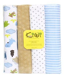 Kiwi Printed Flannel Receiving Blanket 008 Pack Of 4 - Multicolor