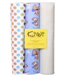 Kiwi Printed Flannel Receiving Blanket 014 Pack Of 3 - Multicolor