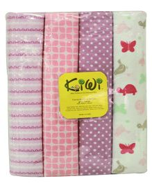 Kiwi Printed Cotton Receiving Blanket 022 Pack Of 4 - Multicolor