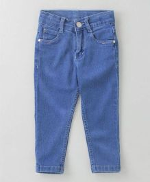 Babyhug Full Length Jeans With Adjustable Elastic - Light Blue