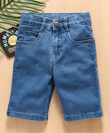 Babyhug Denim Jamaican Shorts With Adjustable Elastic - Light Blue