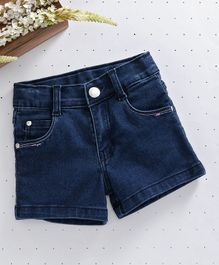 Babyhug Denim Shorts With Adjustable Elastic Waist - Dark Blue